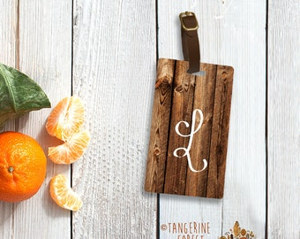 Faux Wood Design with Initial Personalized Luggage Tag