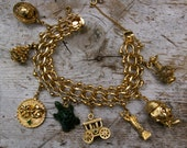 Chunky Gold Charm Bracelet with Moving Charms Heavy 1950s