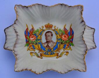 1937 Coronation of King Edward VIII Souvenir Dish Sheppard & Son Wimborne Vintage Royalty Royal Souvenir Royal Coronation Royal Memorabilia