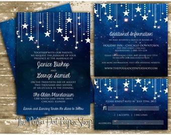 Night Sky Wedding Invitation - Starry Night Invitation - Full Suite, Double Sided, Printed version