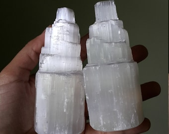 "4"" Selenite Tower, White Selenite Skyscraper, Gypsum Tower, Rough Stone, Mineral Specimen"
