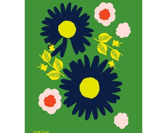 Sixties style, Daisy print, Living Room Art, Pop Art