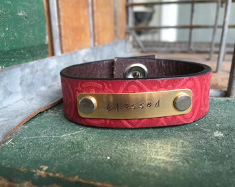 Hand Stamped Leather Cuff Bracelet ~ blessed