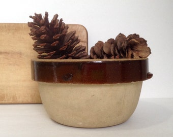 Dark Brown and Tan Stoneware Mixing or Serving Bowl Country Kitchen Decor Farmhouse Rustic Primitive