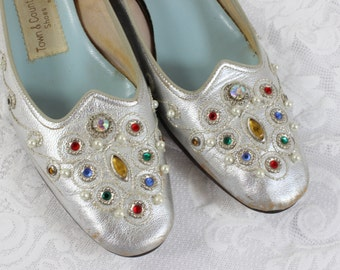 Vintage Woman's Shoes- Silver Metallic with Multi-color Rhinestone Jewels- Size 8-1/2- Ballet Flats- Town & Country