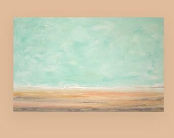 "Acrylic Painting - Art Painting Acrylic Abstract Beach Seascape on Canvas by Ora Birenbaum Titled: Cottage Life 3 30x48x1.5"""