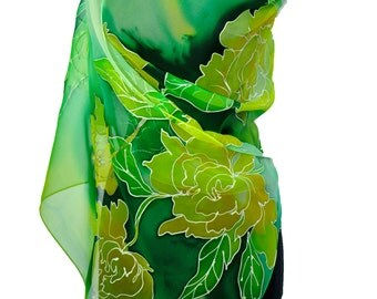 Hand painted silk scarf/Green yellow flowers/Painting chiffon scarf/Green flowers painting by hand/Luxury gift for women's/Long silk scarf
