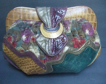 1980s Embossed Leather Snakeskin Floral Handbag