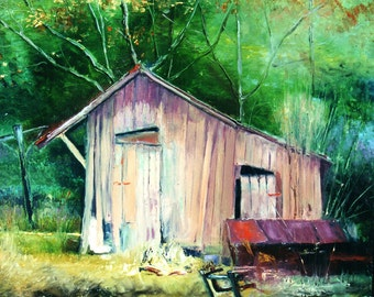 Oil on Canvas painting of a pink shed in South Carolina