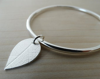 Solid Silver Bangle With Silver Leaf - Sterling Silver