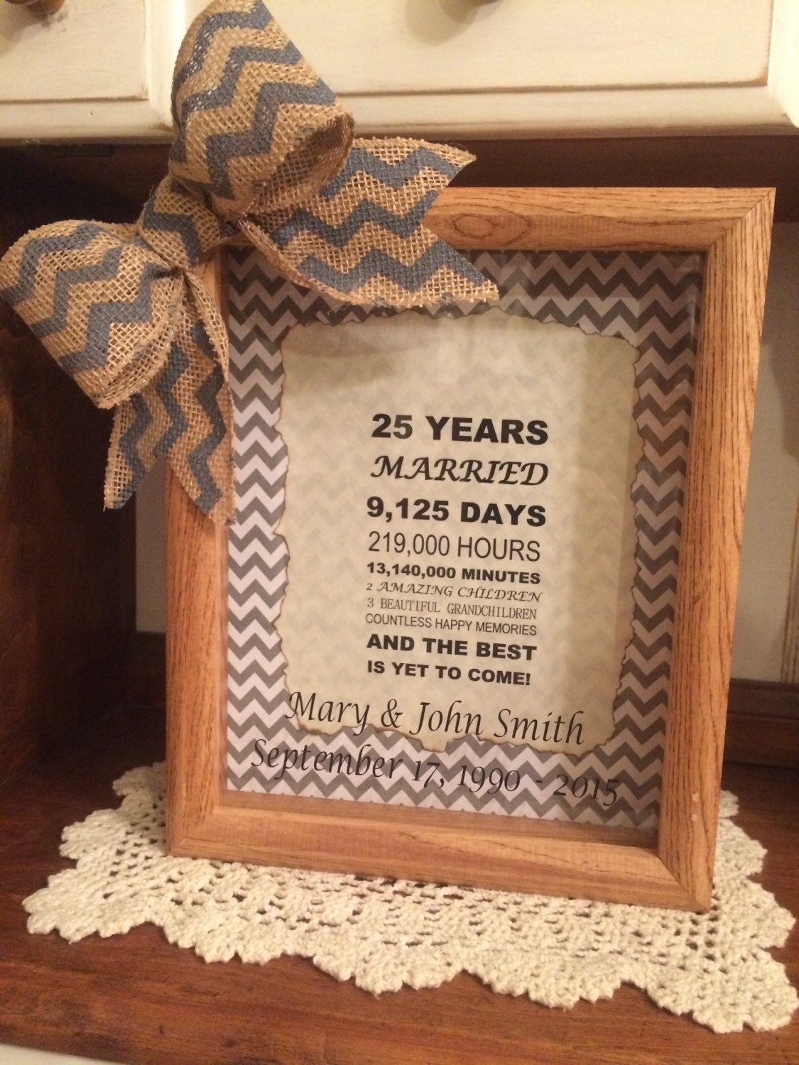 Personalized 25th Wedding Anniversary Gift Years Months