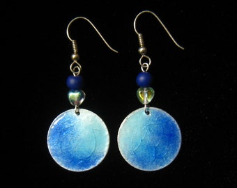 CLEARANCE Artisan Signed Vintage  Enamel Disc Drop Earrings in a Blend of Blues with Cobalt Glass Bead & AB Heart Bead