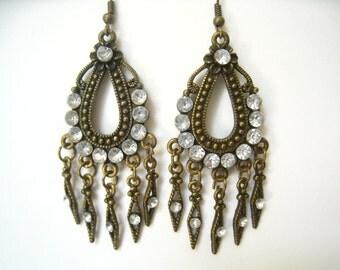 CLEARANCE Rhinestone & Bronze Tone Chandelier Drop Vintage Earrings with Multiple Dangles. Exotic Eastern Mid East Styling.
