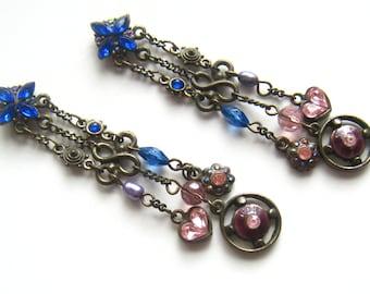 CLEARANCE Long Jeweled Bronze Tone Multi Dangle Vintage Earrings. Rhinestones, Crystals, Pearls, Enamel.  Royal, Pink, Purple, & Deep Rose