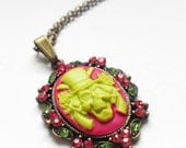 Sale, Pink Victorian Zombie Necklace, Bright Lime Green Skeleton Cameo, Pink Skull Pendant, Halloween Necklace