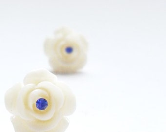 White Earrings, Ivory Rose Flower Studs with Sapphire Blue Rhinestone, Simple Earrings, Modern Earrings, Trendy Jewelry, Choose Your Colors