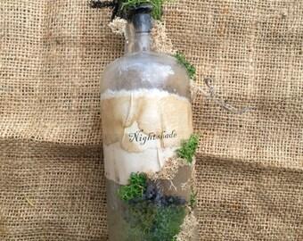 Potion Bottle - Halloween Decor - OOAK - Authentic Vintage Bottle - Nightshade