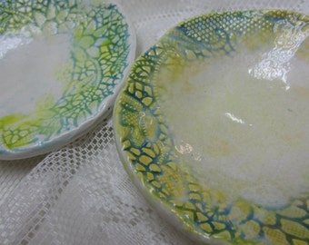 Two Turquoise Blue and Yellow Lace Ceramic Bowls