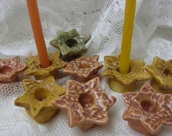 Ceramic Chanukah 9 Stars Portable Menorah