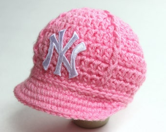Girls Pink Yankees Baby Hat - Cap - New York Yankees - Baby Gift / Newborn -  Baseball Photo Prop - MLB - Knitted / Crochet