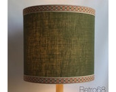 Large 70s Style Green Hessian LampShade