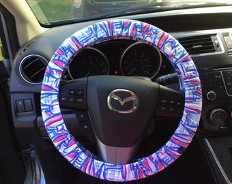 """Steering Wheel Cover made with Lilly Pulitzer's """"Red Right Return"""" fabric"""