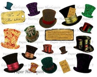 Mad Hatter Digital Collage Alice in Wonderland Printable