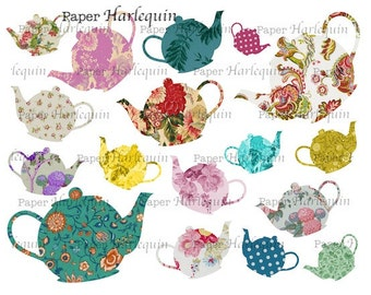 TEApots Instant Download COLLAGE Sheet Printable Clipart
