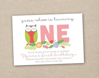 owl birthday invitation - 1st birthday invitation - owl party invitation