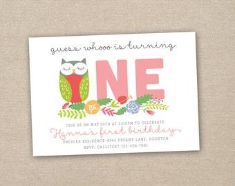 owl first birthday party invitation