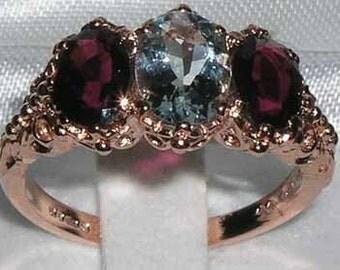 14K Rose Gold Natural Aquamarine & Rhodalite Garnet 3 Stone Ring, English Victorian Style Trilogy Ring - Made in England - Customizable
