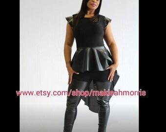 Black leather peplum Top and  Black leather high waist legging