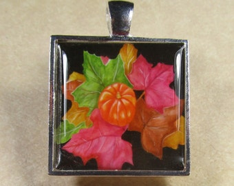 Pumpkin Pendant - Autumn Pumpkin and Leaves, Thanksgiving, Pendant, Jewelry