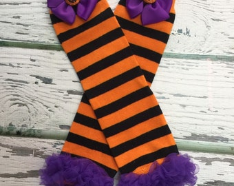 Halloween Leg Warmers, Baby Girl Leg Warmers, Orange and Black Striped Leg Warmers, Fall Leg Warmers, TuTu Leg Warmers, Baby Legs, Crawlers