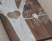Lovebirds - Custom Painted on Aged Pine