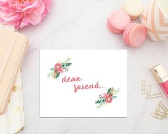 Dear Friend Stationery Set -  Set of 10 folded note cards