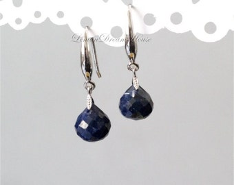 September Birthstone. Gemstone Earrings, Blue Sapphire Onion Briolettes, Sterling Silver Fancy Earwires, Silver Mini Ice-pick Bails. E215b.