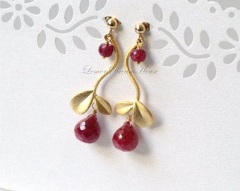 July Birthstone Earrings, Ruby Faceted Onion Briolettes, Gold Twig Connectors, Gold-filled Wire and Earstuds. Nature Inspired. Gift. E251.