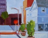 Original plein air oil painting. Urban Street Landscape. Simple, colorful and geometric. Modern contemporary fine art. Affordable wall decor