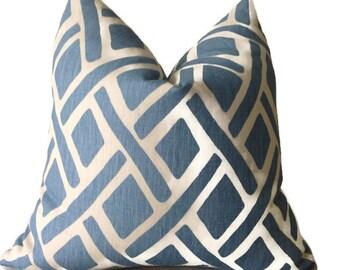 Light Blue Kravet Trellis Pillow Cover, Throw Pillows, Decorative Pillow, Designer Fabric