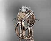 "14k rose gold diamond leaf and vine wedding ring, engagement set with a ""Forever One"" Moissanite center stone ADLR90S"