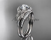 """platinum diamond leaf and vine wedding ring, engagement set with a """"Forever One"""" Moissanite center stone ADLR91S"""
