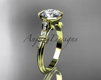 14k yellow gold diamond leaf and vine wedding ring,engagement ring ADLR23