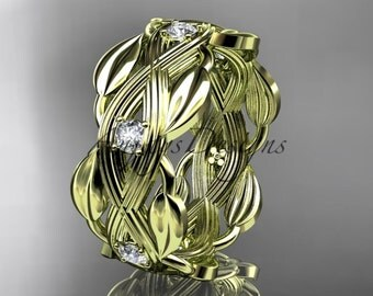 14kt  yellow gold diamond floral wedding ring, engagement ring ADLR259