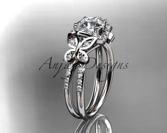 14kt  white gold diamond butterfly wedding ring,engagement ring ADLR141