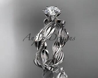 Unique Platinum   leaf and vine engagement ring, wedding band ADLR258