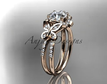 "14kt rose gold diamond butterfly wedding ring, engagement ring with a ""Forever One"" Moissanite center stone ADLR141"