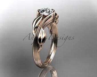 14kt rose gold leaf and vine wedding ring, engagement ring ADLR273