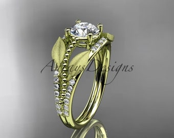 """14kt yellow gold diamond leaf and vine wedding ring, engagement ring with """"Forever One"""" Moissanite center stone ADLR75"""