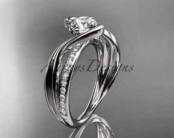 14kt  white gold diamond leaf and vine wedding ring,engagement ring ADLR78
